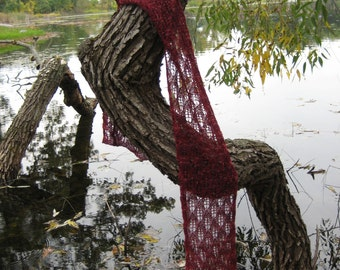 Falling Leaves Handknit Lace Scarf