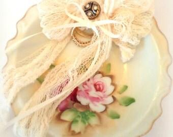Ring Bearer Pillow  Alternative Vintage Ring Dish Wedding Ring Dish Bride Groom Wedding Rings Ceremony