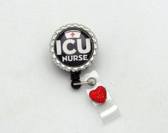 ICU Badge Reel - Intensive Care Badge Clip - Medical ID Holders - Designer Badge Wear - Male Badge Reels - Badge Reel Gifts - Nurse Gifts