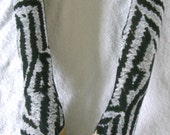 Fingerless Gloves Grey & Black Pattern Handmade Beautiful Stylish