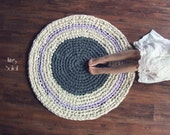 SALE Dusk Grey and Lavender Round Cotton Rug Ready to Ship
