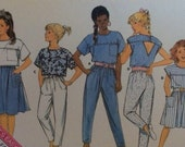 Butterick 5617 girls sewing pattern, top pattern, skirt pattern, pants pattern, unused vintage uncut pattern size 12.