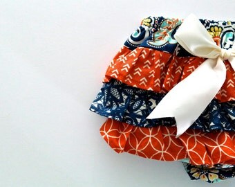 Baby Girl Bloomer-modern fall- Vintage baby girl-Orange and Navy and aqua-ruffle diaper cover-Orange Navy Cream and aqua Bloomer-arrows