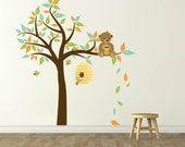nursery decals - bear decal - tree decal - bee hive decal - vinyl wall decal, nursery wall decals bees