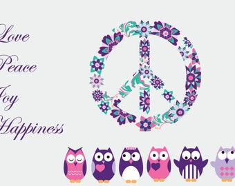 Owl decal - wall decals - peace sign decal - set of 6 owls -  vinyl wall decal - Vinyl letters