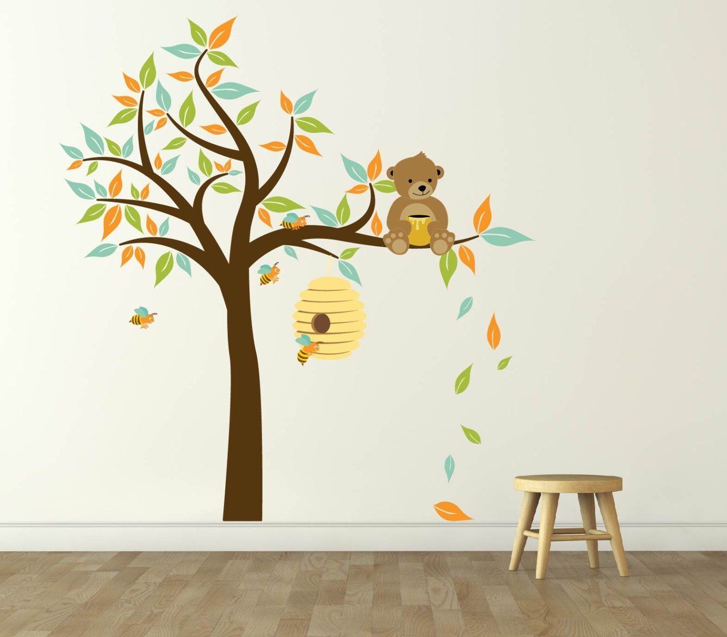 Nursery decals bear decal tree decal bee hive decal for Bee decorations for the home