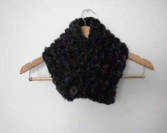 Black Multi Color  Neckwarmer Crochet Handmade Super Soft Winter Scarf