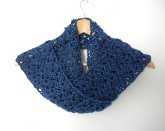 Blue Handmade Crochet Very Soft Scarf