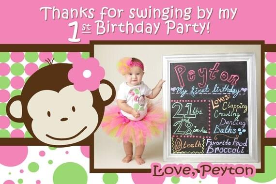 Monkey Invite Mod Monkey Invitation Photo 1st Birthday Party