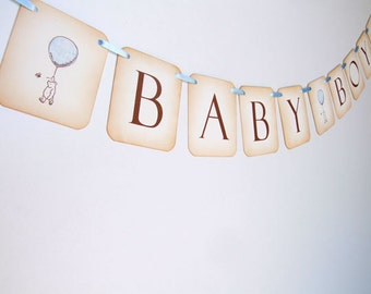 Winnie the Pooh Bunting, Winnie the Pooh Banner, Winnie the Pooh Baby Shower Decoration, Baby Boy Bunting Garland, Photo Prop, 003-B