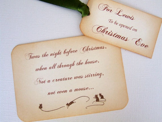 Personalized Christmas Eve Gift Tag Set Twas by ...