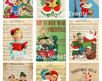 INSTANT DOWNLOAD, Vintage Christmas Tags, Christmas Labels, Digital Collage Sheet, Christmas Cards, gift tags, music Tags