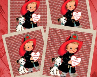 INSTANT DOWNLOAD, Fireman Valentine Cards, Kids Valentine Cards, Printable, Glamorous Sweet Events