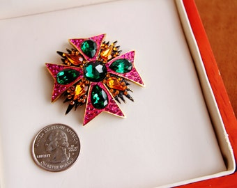 Signed JAY FEINBERG  Maltese Cross brooch/pin # 127