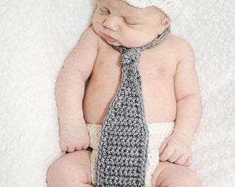 Crochet Baby Boy Newsboy Set with Neck Tie, Photography Prop Set, Size Newborn and Infant – Aran & Grey Heather