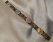 Woven Mesh Metal Silver Tone Bracelet with Flower Cabochons