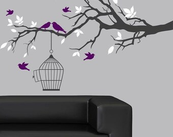 Tree Branch with birdcage and birds wall decal