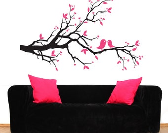 Bedroom wall decal, decal wall branch, branch decal, branch wall decal, bird decal, decal birds, modern wall decal