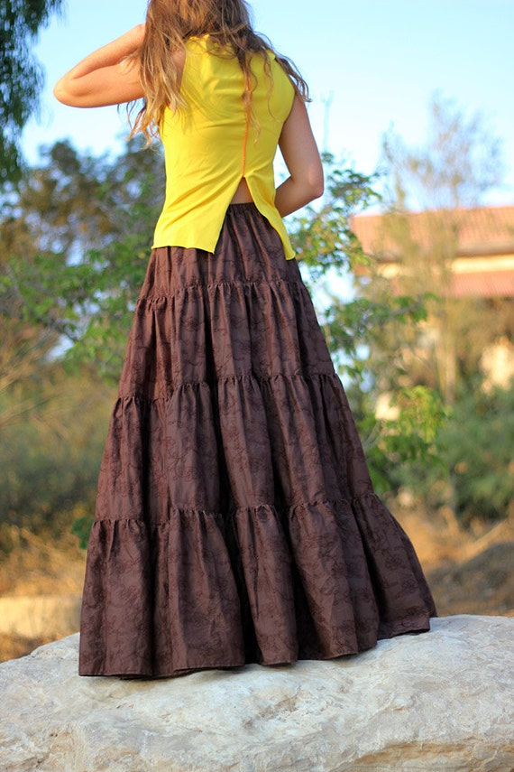 Long brown skirt for tall women Tiered Maxi skirt Boho