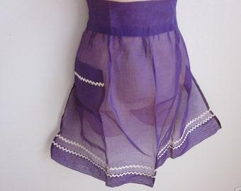 Vintage hostess apron purple organza  fancy madmen