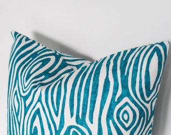 16 or 18 inch throw pillow cover, Teal Turquoise blue. Faux Bois Wood Grain modern print. For indoor use.