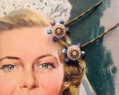 Floral Swarovski Blue Opal and Brass Color Metal Hair Pins- Vintage and New Materials