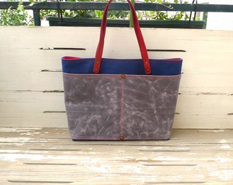 MULTI COLOUR Grey and Navy Blue Waxed Canvas Diaper weekender Tote Bag with red double straps and detachable leather srap