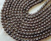 8mm A Grade Smoky Quartz Faceted Round Polished Semi-Precious Beads, Half Strand (IND1C81)