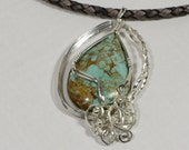 Turquoise Pendant Wire Wrap Pendant  Wire Wrapped Cabochons Larimar Jewelry Wirework Jewelry