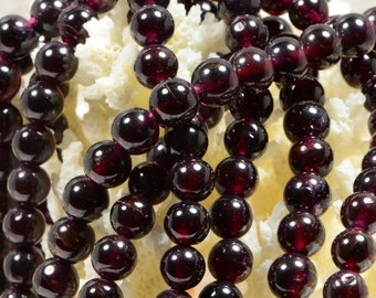 Red Garnet 6mm Beads Natural Gemstone Beads Jewelry Making Supplies Garnet Beads