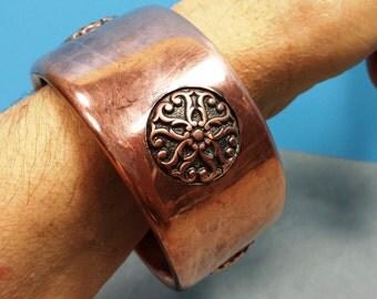 Vintage Hollow Copper Engraved Mediallions Bangle Bracelet