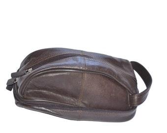 90's dark brown  mens toiletry case travel case  carry all  shaving bag, gift for him