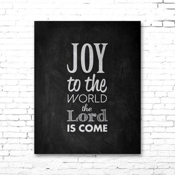 Items similar to JOY To The WORLD Christmas Carol Artwork   Printable Lyrics   DIY   Chalkboard ...