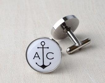 Love anchor cufflinks / Silver wedding day keepsake gift / Mens dapper accessories