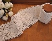 Cotton Lace Fabric Trim, Vintage Crochet Trim Lace, Scalloped Lace Trim, 2  yards