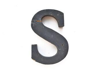 vintage sign letters, typography, sign letter S wood offered by Elizabeth Rosen