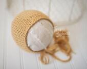 Wool Cotton Knit Newborn Hat Bonnet Photography Prop Mustard Yellow