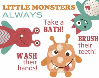 KIDS BATHROOM ART, Bathroom rules, Wash Flush Brush, Modern Bathroom decor for boys, little monsters, 8x10 print, bathroom sets wall art