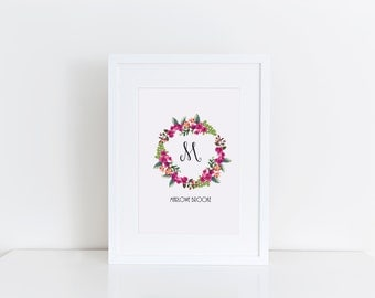 Initial Art-  Custom Monogram Floral Digital Art You Print at Home- Perfect for a Nursery! 20% OFF!