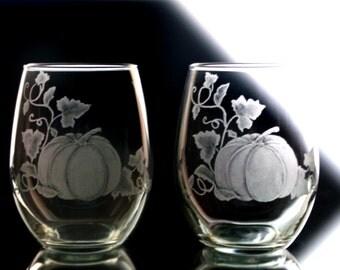 Stemless Wine glass  Set of Two  Harvest Pumpkin wine glasses thanksgiving