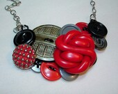 Vintage Button Necklace - POWERED UP -Vintage Jewelry - Red - Gray- Black - Button Jewelry