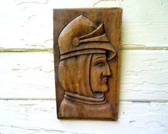 Vintage wooden knight carved knight medieval renaissance  home decor