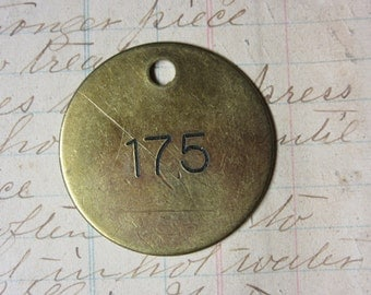 Number Tag Vintage Jewelry Charm Brass Number 175 Tag #175 Tag Industrial Tag Address Number Apartment Number Key Keychain Fob Special Date