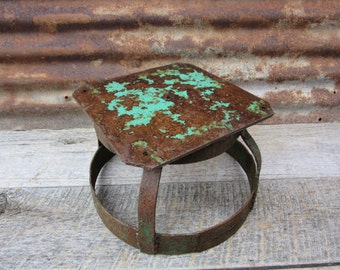 Vintage Chipping Green Paint Industrial Shop Stool Unusual Style Hand Made Fabricated Stool 1960s Era Rusted Metal Rustic Wedding Decor vtg