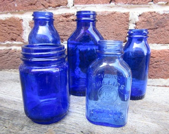 A Blue Bottles Collection 5 Antique Cobalt Blue Bottles Old Bottles Lot For Wedding Table Vases or Rustic Farm Country Display Old Fashion