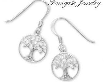 Sterling Silver Rhodium Plated CZ Tree of Life Dangle Earrings
