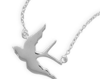 17 inch Soaring Swallow Bird Pendant with attached Necklace - 925 Sterling Silver