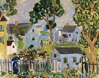 Impressionist Painting Print by Prendergast from 1923 Cottages by the Sea