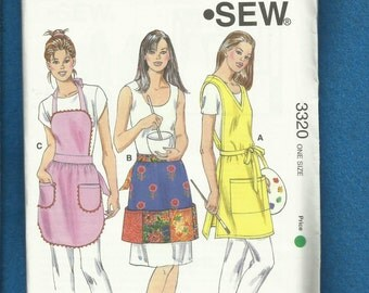 Kwik Sew 3320 Bib & Half Aprons and Wrap Smock Perfect for the Artist in You UNCUT