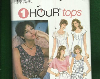 Simplicity 8986 Tops with Neckline Flounce Detail and Sleeve Variations Sizes XS..S..M Uncut